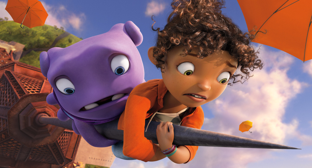 Oh (voiced by Jim Parsons) and Tip (voiced by Rihanna) in DreamWorks Animation's HOME.