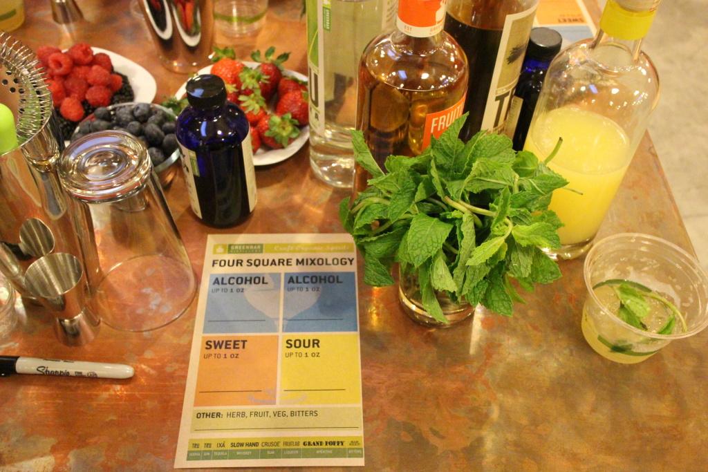 Mix card at Greenbar's Friday night drink mixing class.