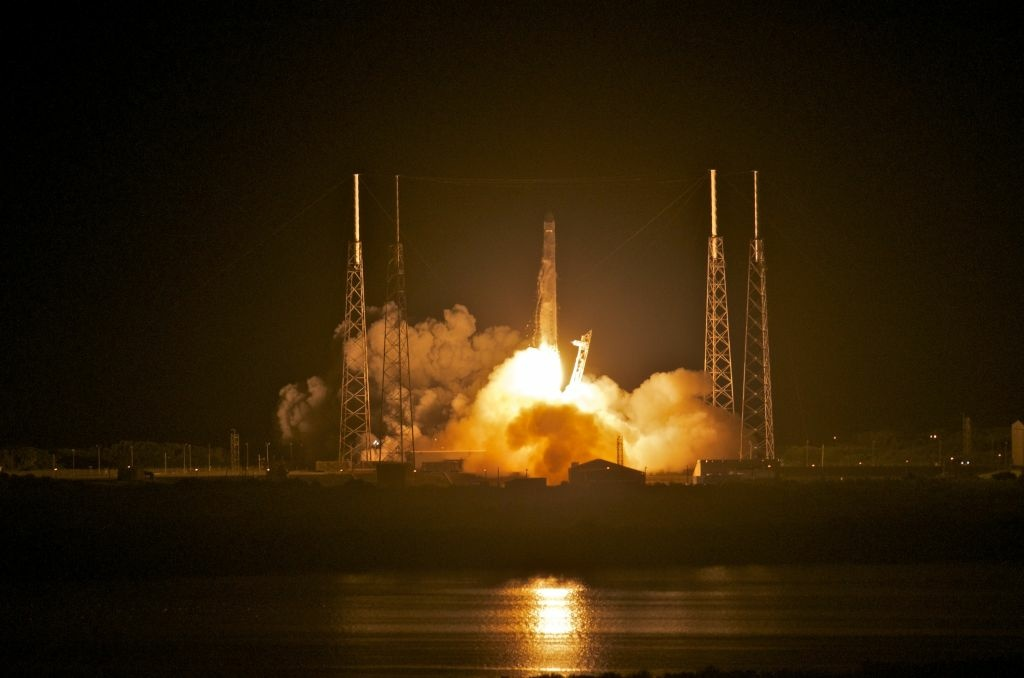 Space X's Dragon spacecraft atop rocket Falcon 9 lifts off from Pad 40 of the Cape Canaveral Air Force Station in Titusville, Florida.