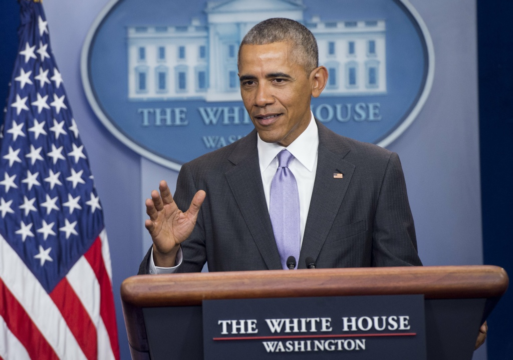 US President Barack Obama speaks during a surprise appearance at White House Press Secretary Josh Earnest's last daily press briefing of the Obama administration.