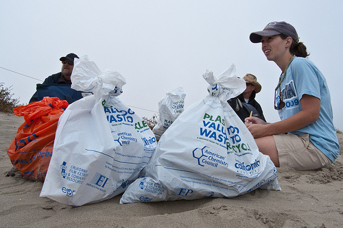 A shot from Coastal Cleanup Day at Morro Bay, Calif. as Annie Gillespie takes part in the effort. Some 150 tons of trash was picked up at LA County beaches.