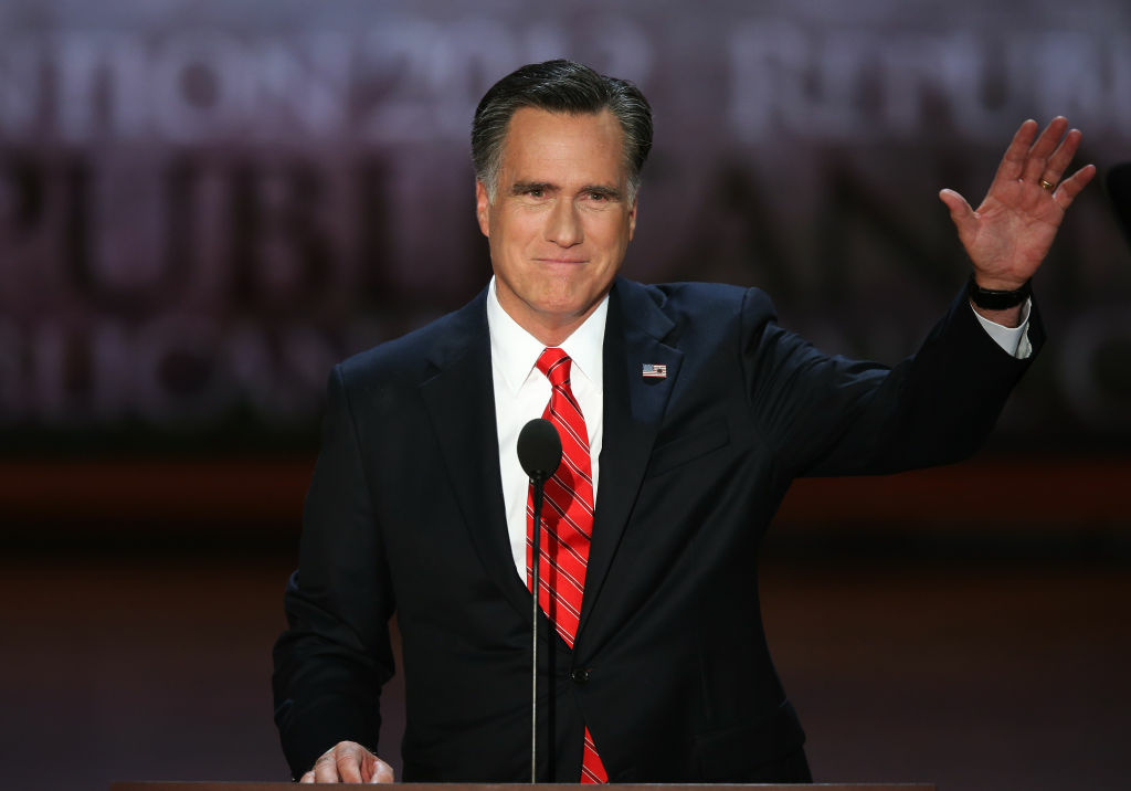 Republican presidential candidate, former Massachusetts Gov. Mitt Romney waves on stage during the final day of the Republican National Convention at the Tampa Bay Times Forum on August 30, 2012 in Tampa, Florida.