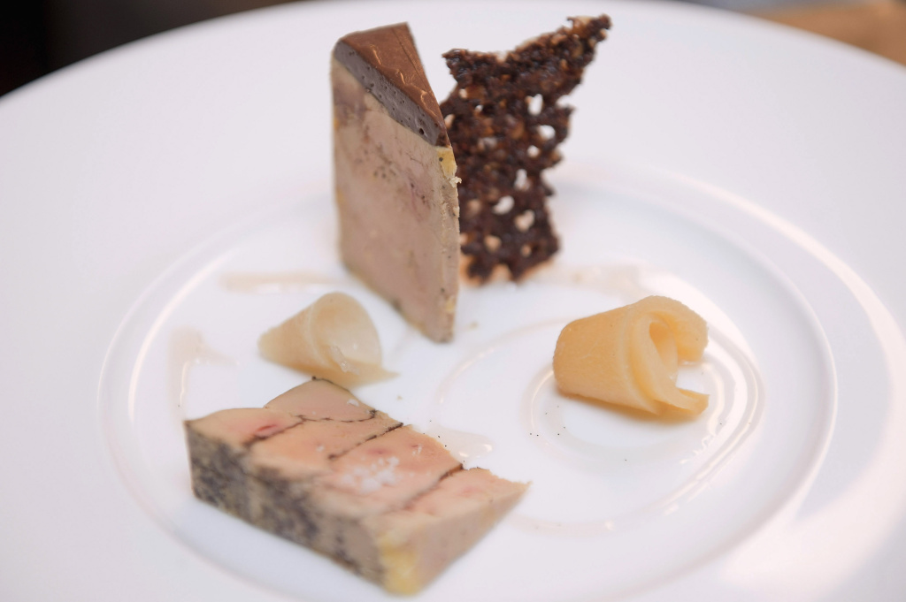 A chocolate tasting Foie Gras dish is created at the 'Un Dimanche A Paris' store on March 17, 2011 in Paris, France.