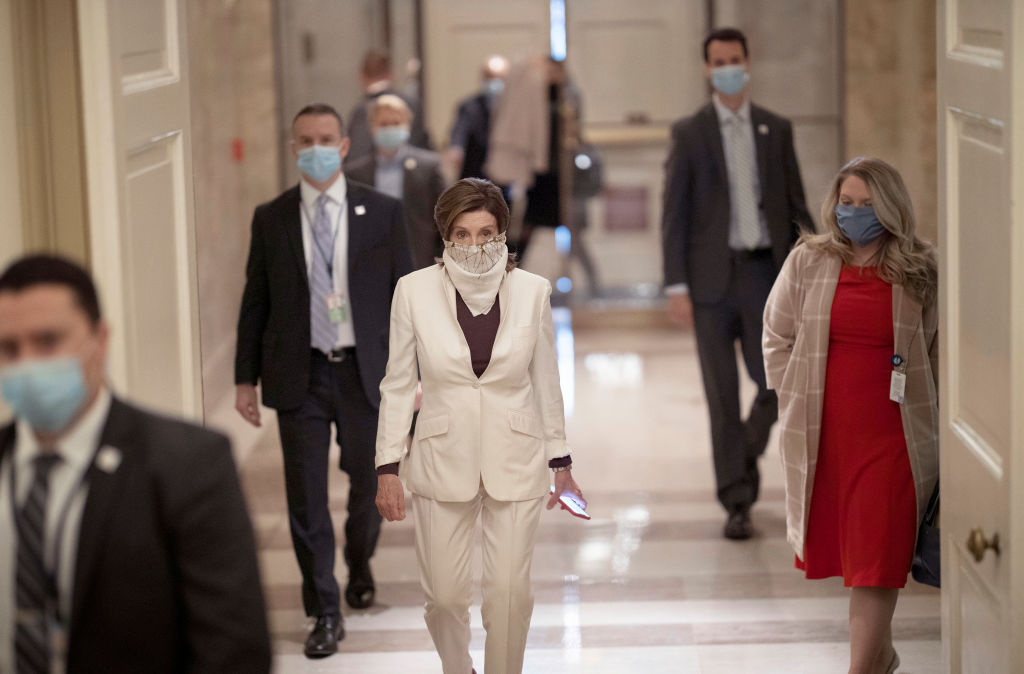 U.S. Speaker of the House Nancy Pelosi arrives at the U.S. Capitol on April 23, 2020 in Washington, DC.