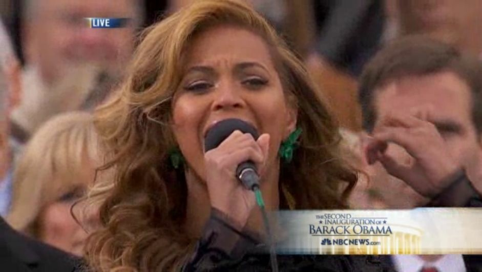 Beyonce singing the National Anthem at this years Presidential Inauguration. She's since admitted that she lip synched.