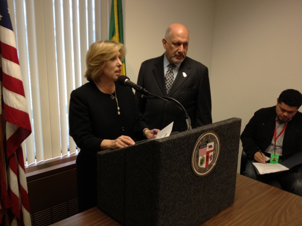 Los Angeles City Controller Wendy Greuel and City Councilman Dennis Zine (her potential successor) speak about an audit of the city's mileage reimbursement policies.