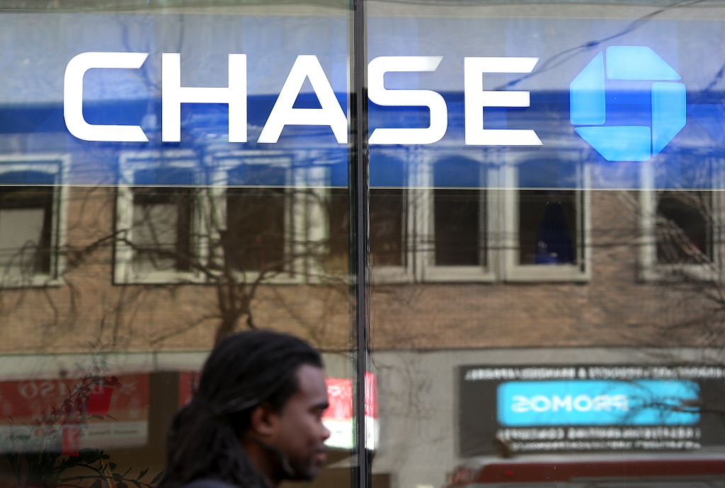 A Chase Bank sign hangs on branch office on February 20, 2013 in San Francisco, California.