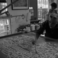 Artist and Master Printmaker Richard Duardo at work.