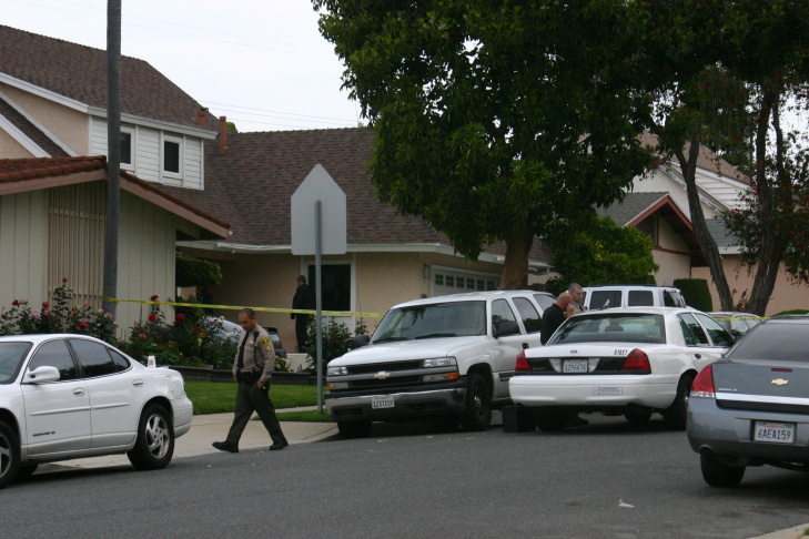 Police at the scene of a Carson federal agent's shooting Wednesday night.