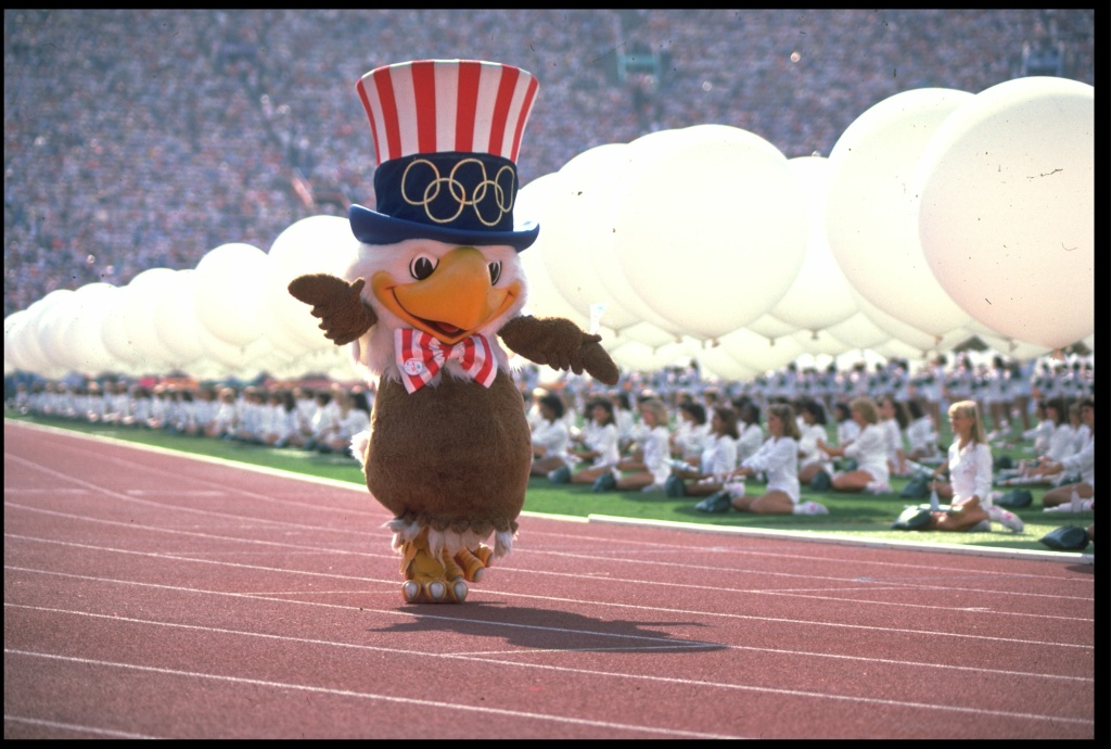 File: Sam the Eagle, the mascot of the 1984 Los Angeles Olympics, marches around the stadium during the opening ceremony on July 28, 1984.