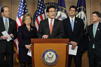 WASHINGTON - APRIL 13: U.S. House Majority Leader Rep. Eric Cantor (R-VA) (C) speaks as (L-R) Rep. Dave Camp (R-MI), Rep. Diane Black (R-TN), Rep. Paul Ryan (R-WI), and Rep. Jeb Hensarling (R-TX) listen during a news conference April 13, 2011 on Capitol Hill in Washington, DC.