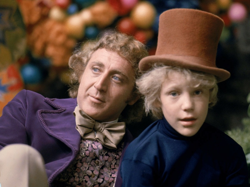 Gene Wilder and Peter Ostrum star in the 1971 movie Willy Wonka & the Chocolate Factory, an adaptation of Roald Dahl's novel, Charlie & the Chocolate Factory.