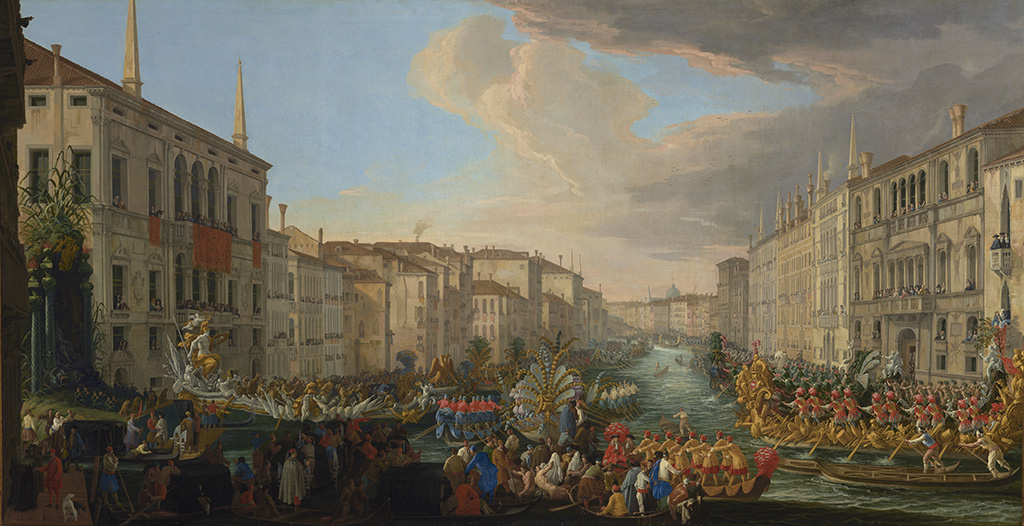 Regatta on the Grand Canal in Honor of Frederick IV, King of Denmark; Luca Carlevarijs (Italian, 1663 - 1730); 1711; Oil on canvas.