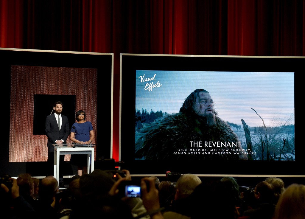 Actor John Krasinski and President of the Academy of Motion Picture Arts and Sciences Cheryl Boone Isaacs announce 'The Revenant' as a nominee for Best Visual Effects.