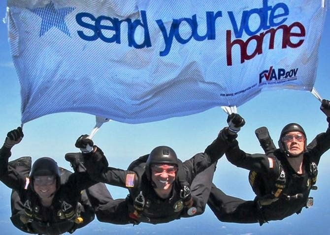 The Golden Knights are part of a campaign to promote military overseas absentee voting.