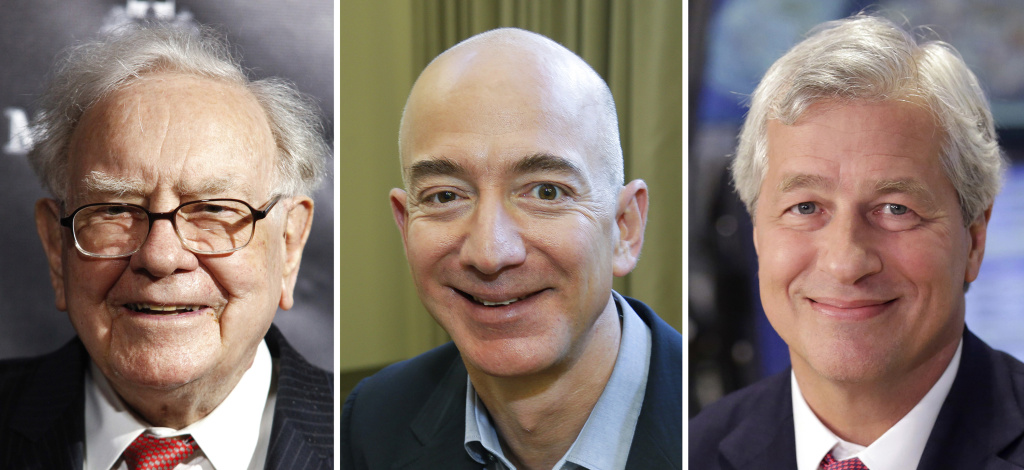 Berkshire Hathaway Chairman and CEO Warren Buffett (left) in 2017, Jeff Bezos, CEO of Amazon, in 2013, and JP Morgan Chase Chairman and CEO Jamie Dimon in 2013. Buffett's Berkshire Hathaway, Amazon and JPMorgan Chase are teaming up to create a health care company announced Tuesday that is