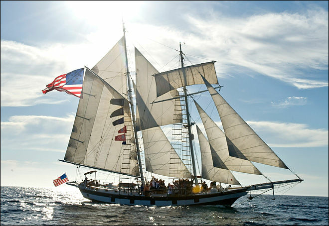 This Sept. 7, 2012 photo shows the Washington state-based Amazing Grace during The Ocean Institute's annual Tall Ships parade in Dana Point, CA. Two people suffered minor injuries during a the festival on Saturday, Sept. 8, when a shotgun shell was loaded into a cannon and fired at the Oxnard-based Bill of Right during a mock battle.