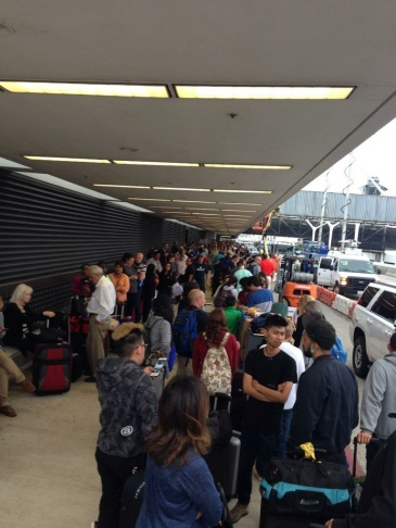 Long lines formed outside Terminal 7 at LAX after a computer glitch caused United Airlines to ground all flights.