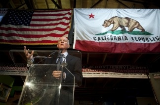 California Governor-elect Jerry Brown speaks during a news conference at his campaign headquarters on November 3, 2010 in Oakland, California.