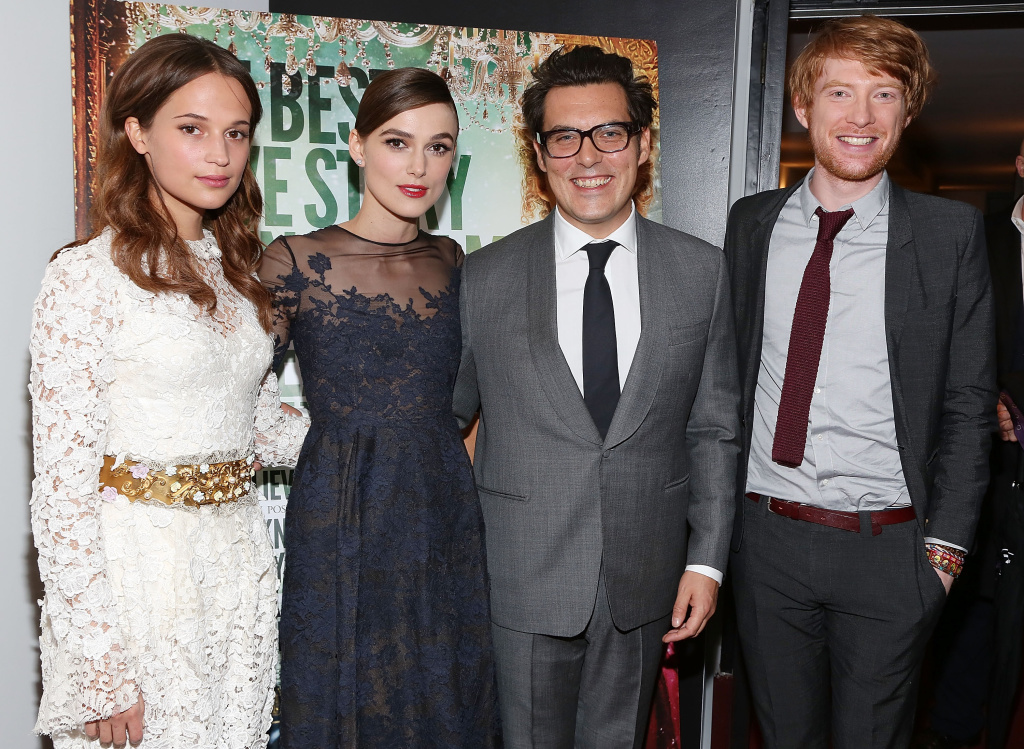 (L-R) Alicia Vikander, Keira Knightley,  Joe Wright and Domhnall Gleeson attend the