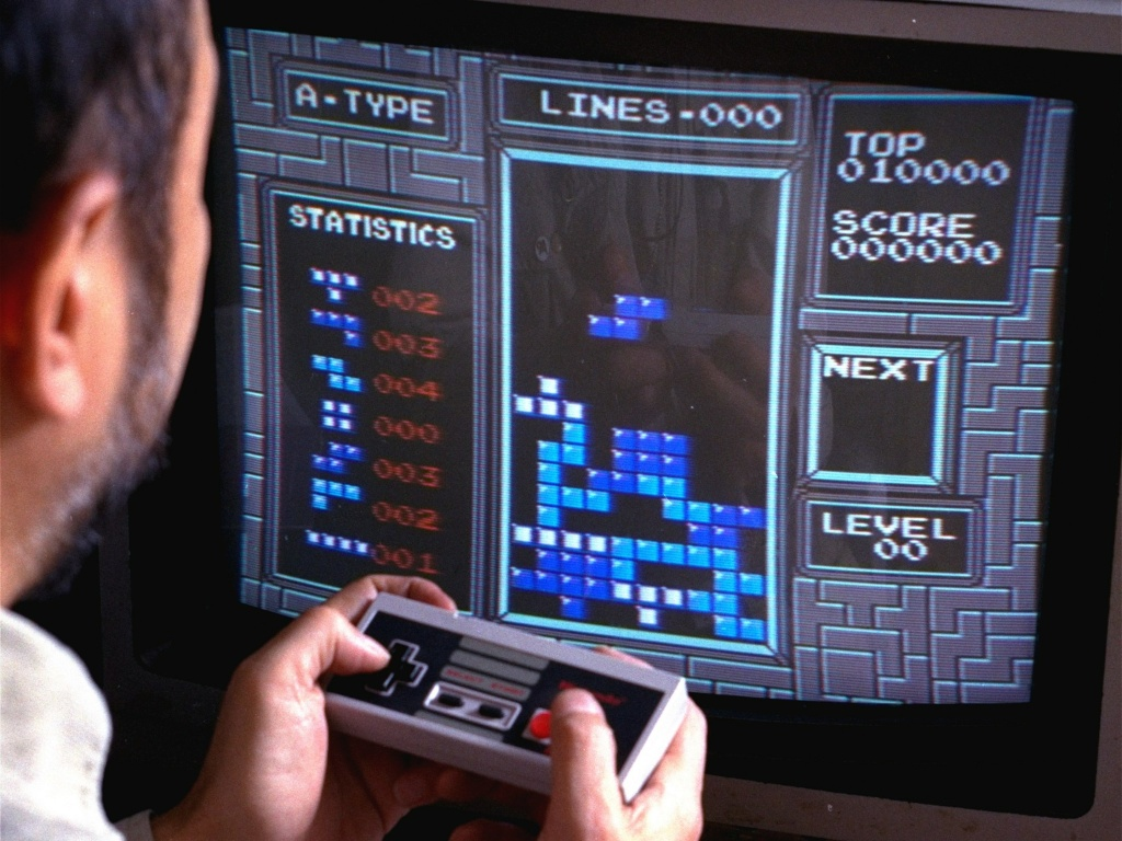 Tetris, an addictive brain-teasing video game, is shown as played on the Nintendo Entertainment System in New York, June 1990. Its creator, a Soviet computer programmer, explained the game appeals to people's