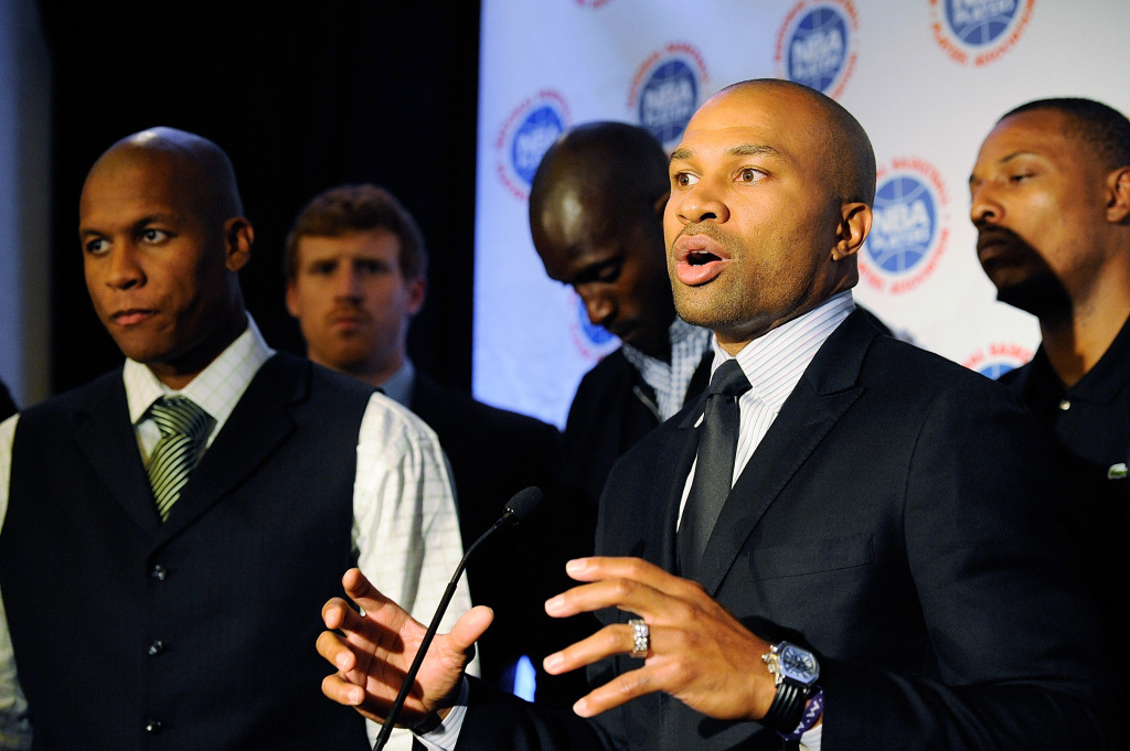 Derek Fisher, president of the National Basketball Players Association speaks at a press conference after NBA labor negotiations at The Westin Times Square on Oct. 4, 2011, in New York City.