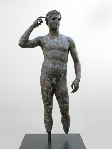 Statue of a Victorious Youth; Unknown; Greece, Europe; 300 - 100 B.C.; Bronze with inlaid copper (J. Paul Getty Museum)