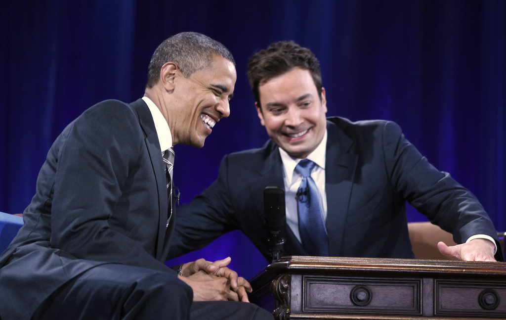 U.S. President Barack Obama speaks with host Jimmy Fallon during an appearance on Late Night with Jimmy Fallon at Memorial Hall on the UNC campus on April 24, 2012 in Chapel Hill, North Carolina. Obama made an earlier appearance on the campus as part of a effort to get Congress to prevent interest rates on student loans from doubling in July.