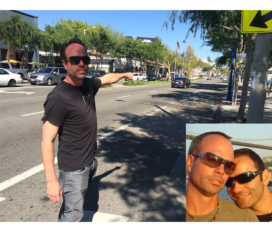 David Etter at the crosswalk in West Hollywood where his partner Mehmet Tasci was killed in May 2013. He points to where Tasci's body was thrown 100 feet from the crosswalk. (inset) David Etter and Mehmet Tasci in Istanbul.