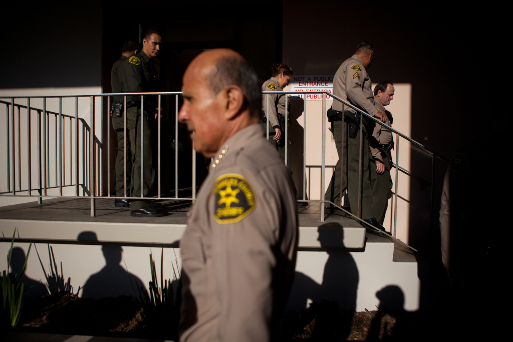 L.A. County Sheriff Lee Baca conducts an inspection of Men's Central Jail in Downtown Los Angeles in this photo from December 2011.