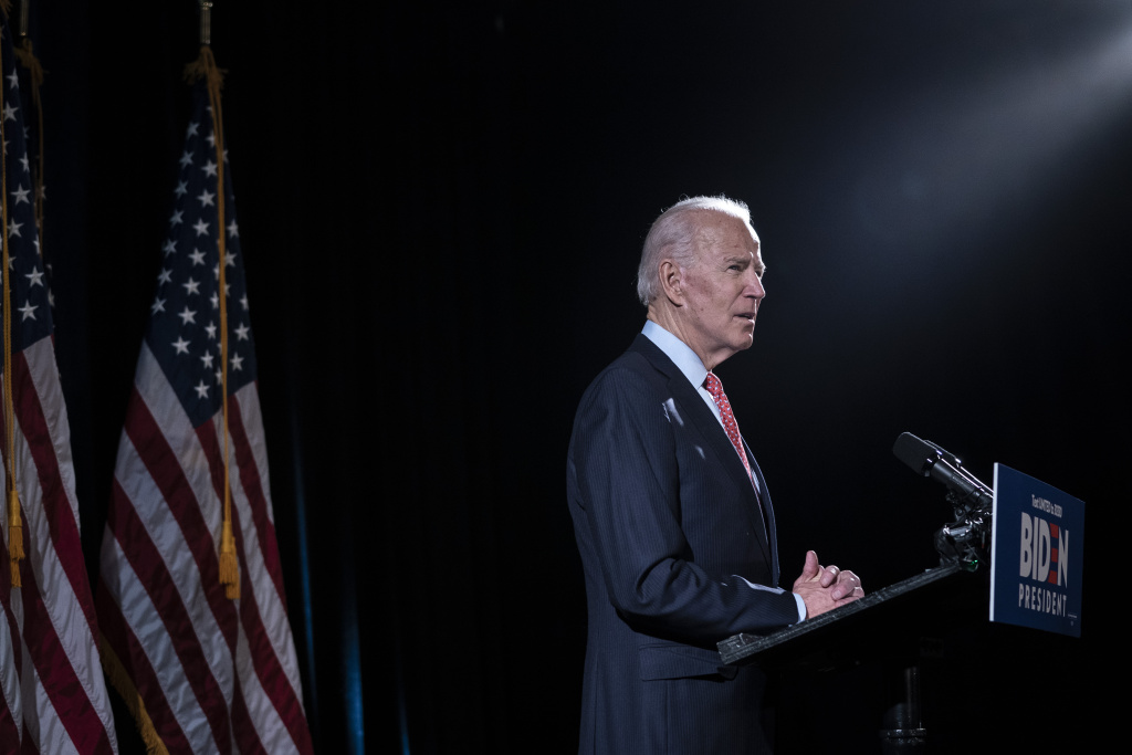 Democratic presidential candidate former Vice President Joe Biden delivers remarks about the coronavirus outbreak, March 12, 2020 in Wilmington, Delaware.
