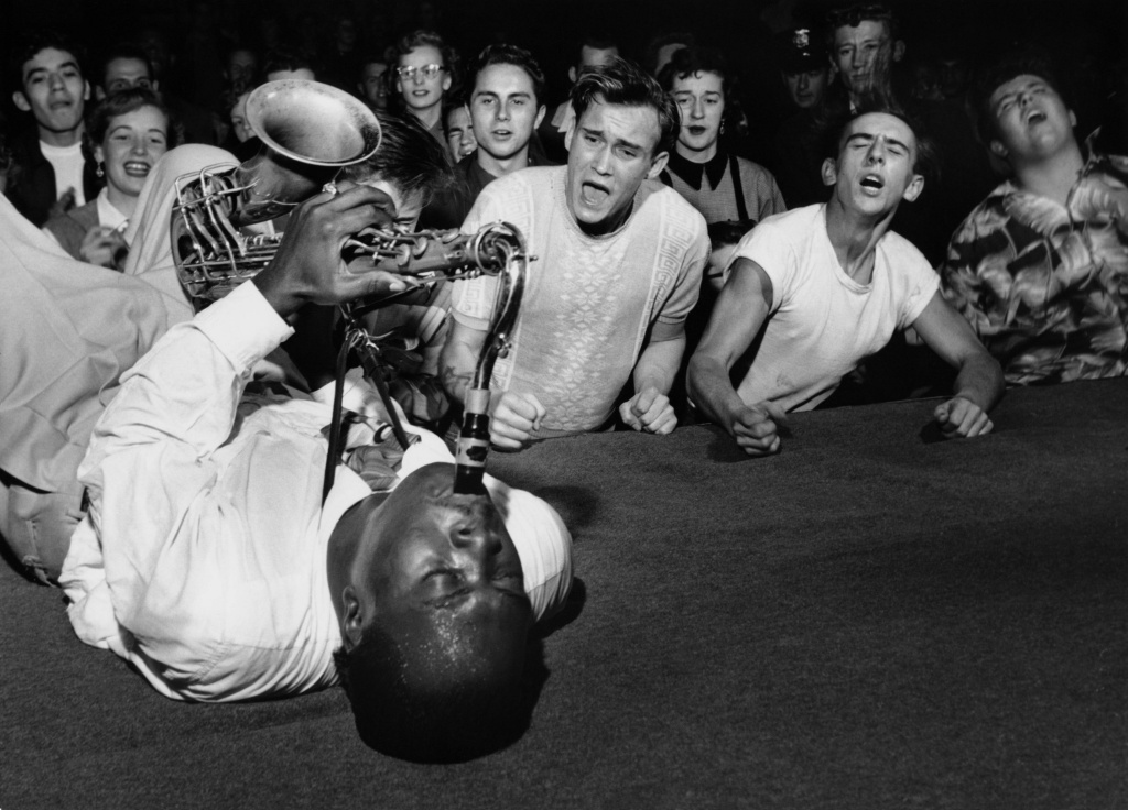 Big Jay McNeely, showman extraordinaire, at Olympic Auditorium, Los Angeles, 1951