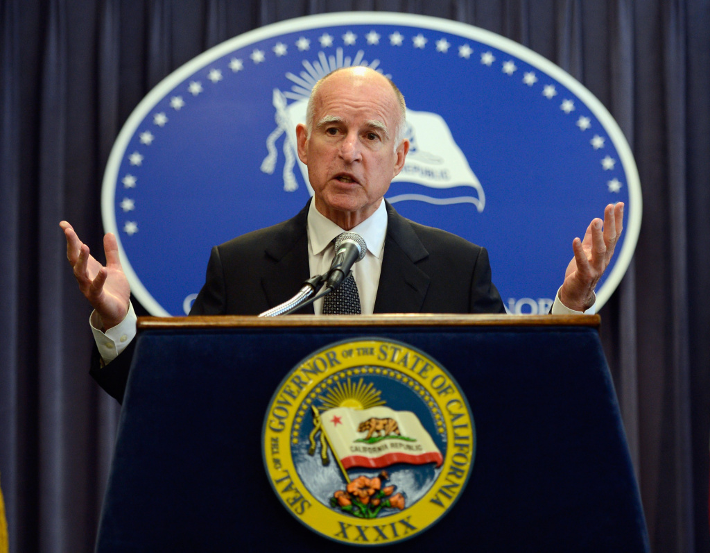 Gov. Jerry Brown during a speech in Washington, D.C.