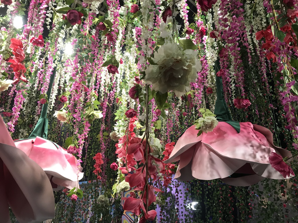 Erotica in Bloom is in collaboration with artist Maisie Cousins. Visitors can put their heads inside giant flowers and see sensual, abstract video art.