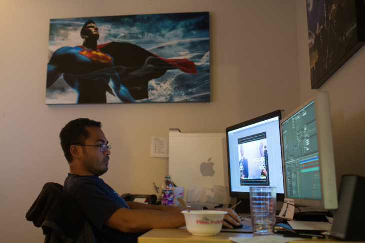 Chase Mancuso, assistant editor for international releases, works on trailers and promos that are sped around the world to promote releases in foreign countries.