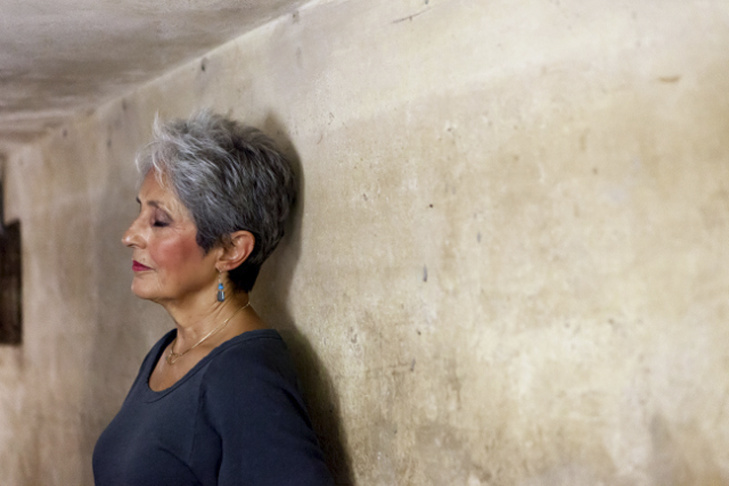 In this March 31, 2013 photo released by Metropole Hanoi, Joan Baez stands with her back to the wall of an historic bomb shelter under the Metropole Hotel in Hanoi, Vietnam. The folk singer and social activist spent a few days recently reliving her past, returning to Hanoi for the first time since December 1972, when American B-52s were raining bombs on it.