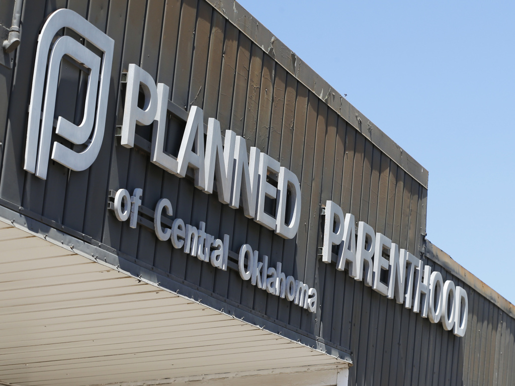 A sign at a Planned Parenthood Clinic is pictured in Oklahoma City, in 2015.