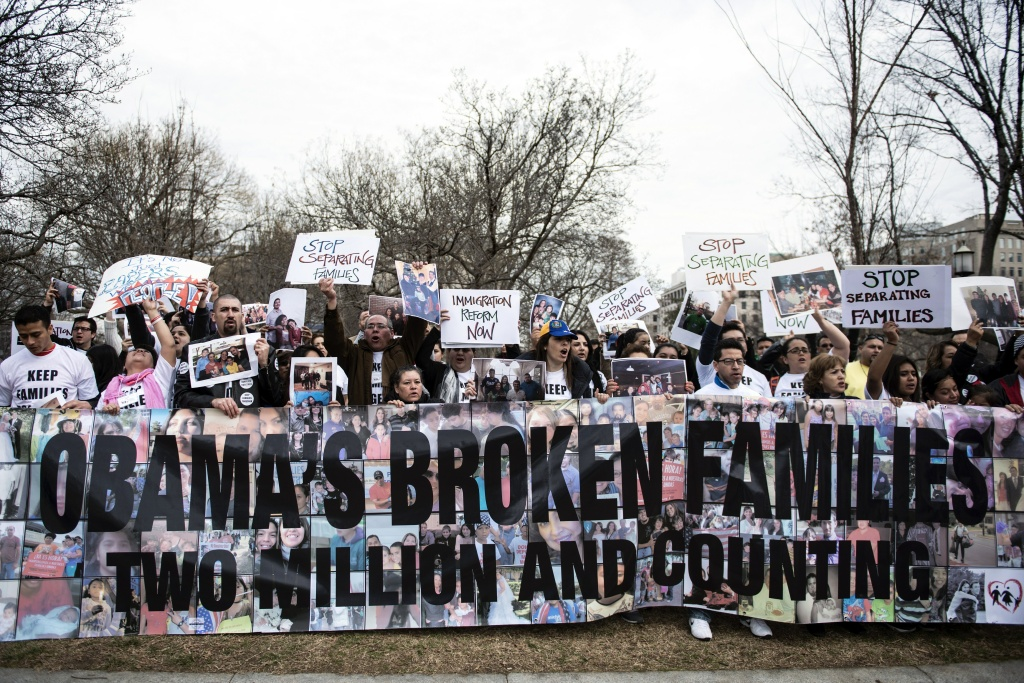 Activists rally outside the White House on March 12, 2014 in Washington, D.C. Both the White House and faith leaders who met with President Obama on Wednesday are saying there are currently no plans for Obama to take executive action on immigration, something that many immigrant advocates have been pushing for as they wait for Congress to act.