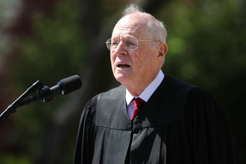WASHINGTON, DC - APRIL 10:  U.S. Supreme Court Associate Justice Anthony Kennedy delivers remarks at the White House in Washington, DC. (Photo by Chip Somodevilla/Getty Images)