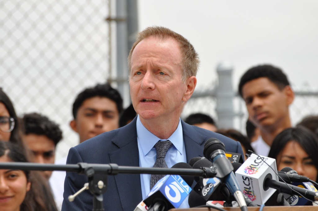 FILE - Los Angeles Unified School District Superintendent Austin Beutner speaks at a press conference on Weds., May 2, 2018.