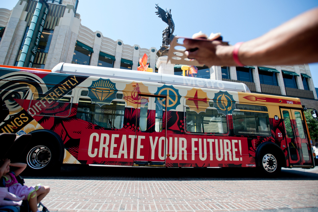 Artist Shepard Fairey designed the final bus installment for the Arts Matter project. Arts Matter is a campaign and program by the Los Angeles Fund for Public Education. It was created to support arts education programs in LAUSD schools. The district completed its new plan for arts education more than eight weeks ago.