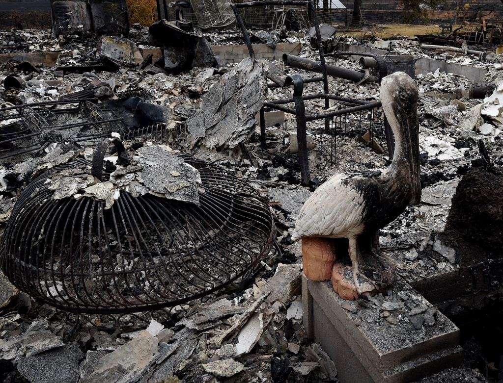 File: A burnt pelican statue stands beside a fire destroyed house after the Valley Fire swept through the town of Middletown, California.