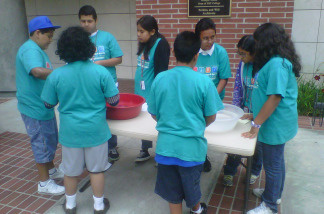 Day campers conduct experiments at USC Summer Science Camp, July 22, 2010.