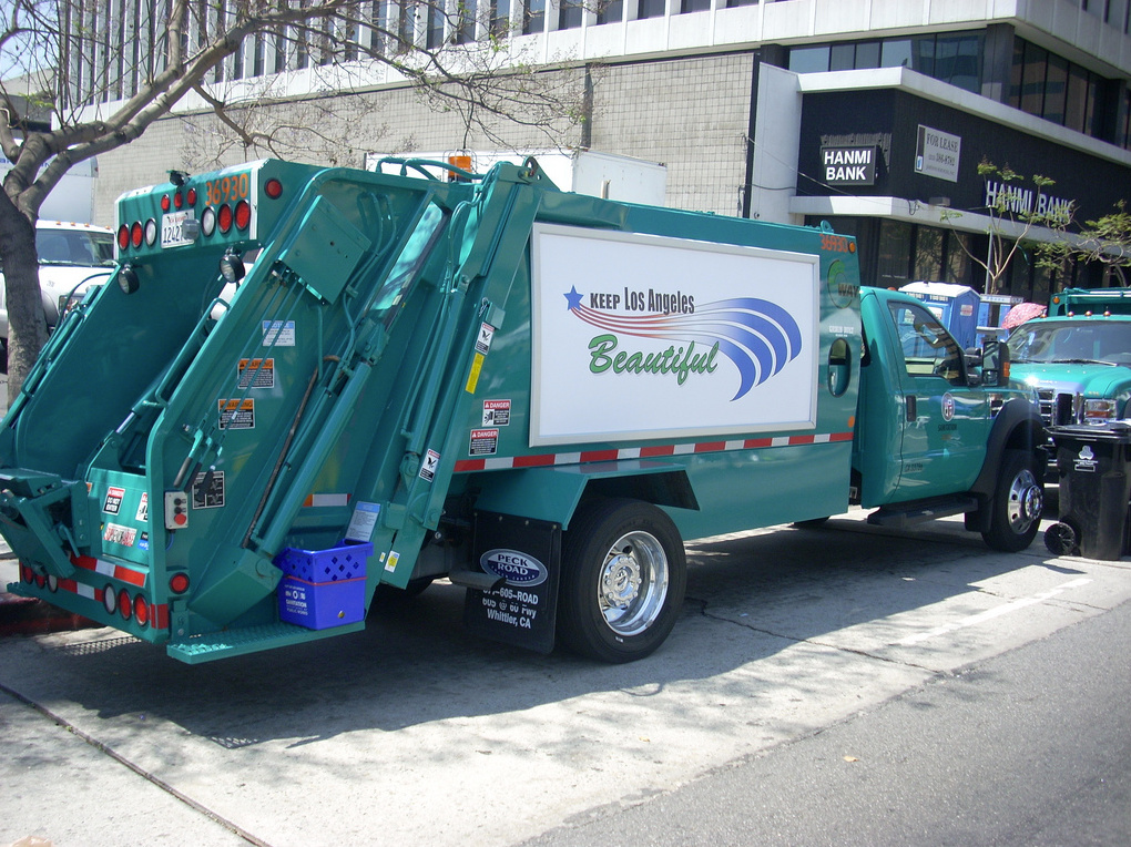 The City of Los Angeles shows off two of its newest garbage trucks.