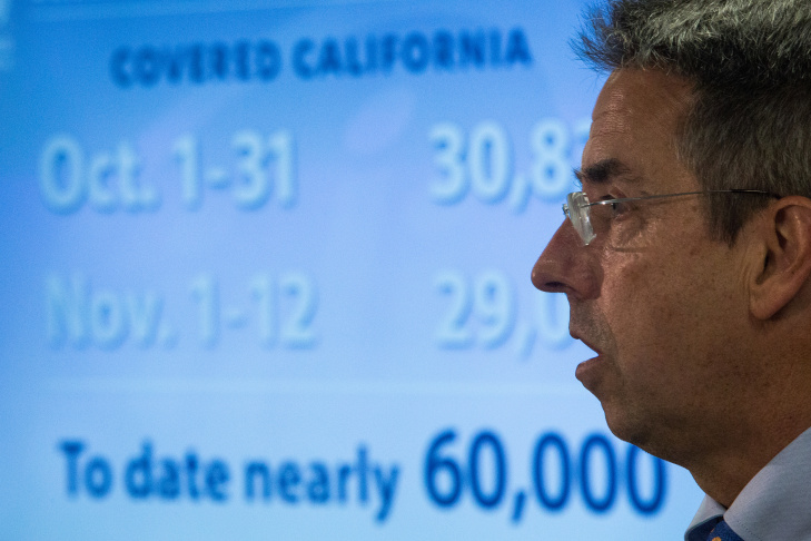 Covered California Executive Director Peter Lee discusses October enrollment numbers at a Nov. 13 news conference in Sacramento.