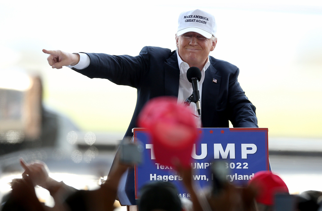 Republican presidential candidate Donald Trump speaks while campaigning at the Hagerstown airport in Hagerstown, Maryland.