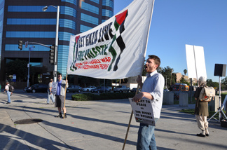 Demonstrators picket on the second anniversary of the killing of more than 1,000 Palestinians in the Gaza strip by Israel during a 22-day war between Dec. 27, 2008 and Jan. 18, 2009. The demonstration was held at Veteran Avenue and Wilshire Boulevard in West Los Angeles on Jan. 21, 2011.