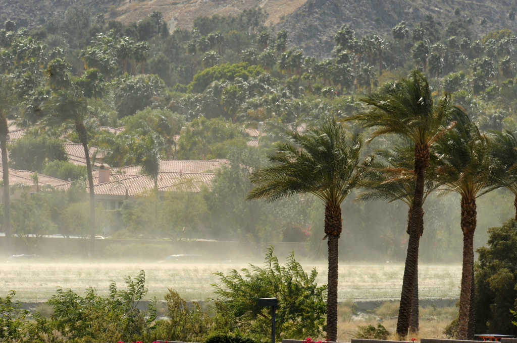 File: Gusting winds whip up a dust storm outside the Indian Wells Tennis Garden during the final between Andy Murray of Britain and Rafael Nadal of Spain in the final at the Indian Wells ATP tennis tournament in Indian Wells, California on March 22, 2009.