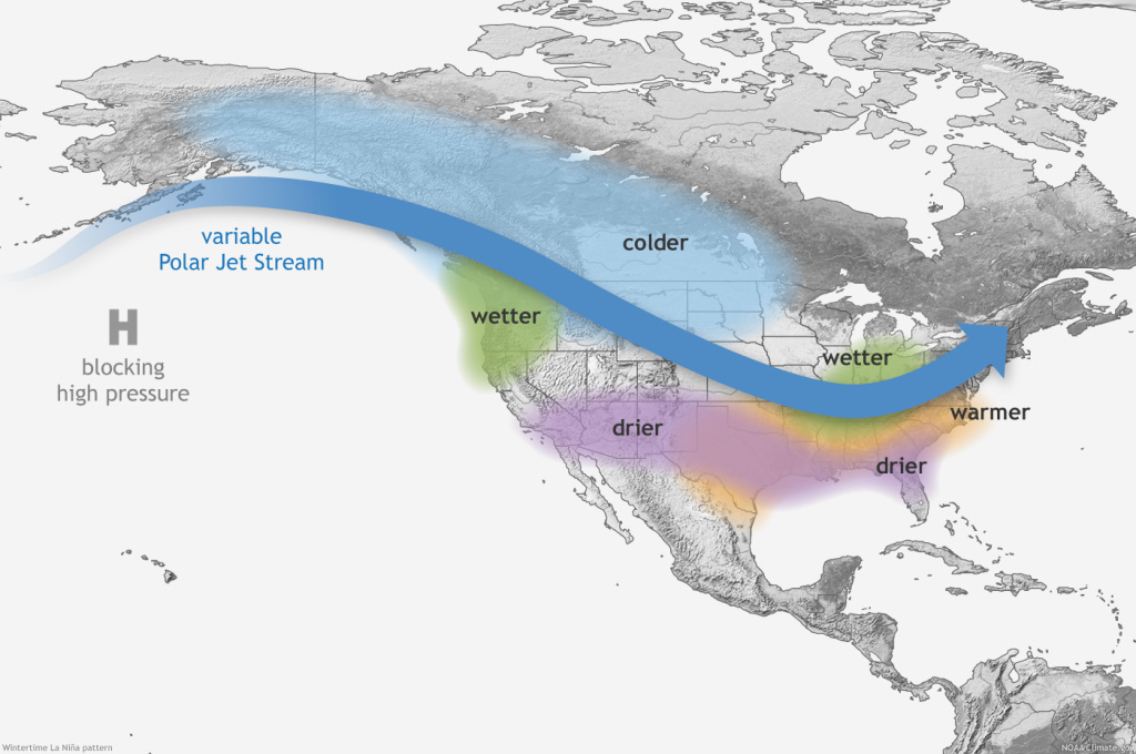 Typical impacts of La Niña on U.S. winter temperature and precipitation. Such impacts have been associated with past episodes, but all impacts aren't seen with every episode. Drawing by Fiona Martin.