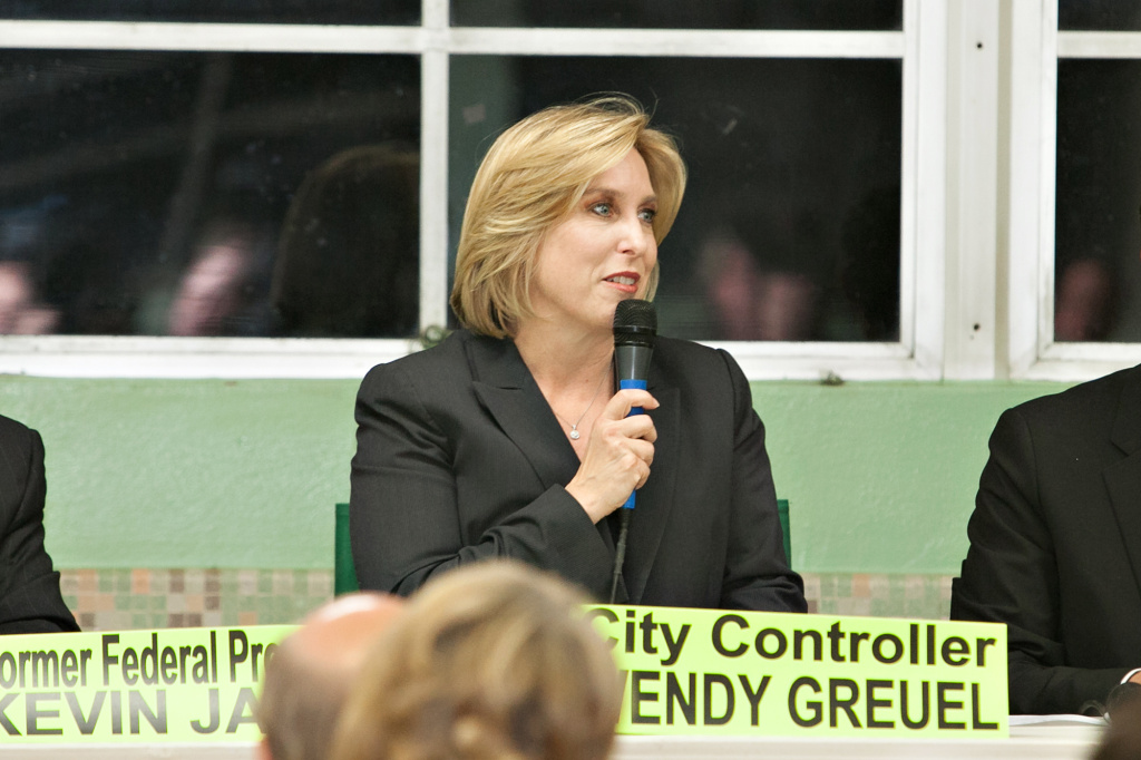 Los Angeles City Controller Wendy Greuel answers questions during the Sherman Oaks Homeowners Association mayoral debate. Her new TV ad - the first in this contest - raised questions from one of her opponents.